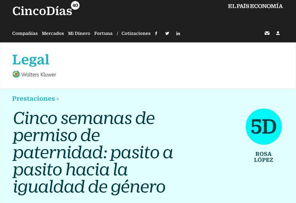 Cinco semanas de permiso de paternidad: pasito a pasito hacia la igualdad de género por Rosa López