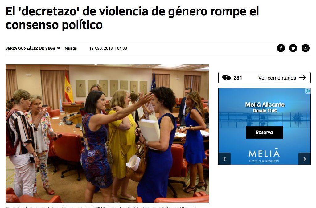 Ana Clara Belío opina en El Mundo sobre el RD-Ley de medidas urgentes para el desarrollo del Pacto de Estado contra la violencia de género